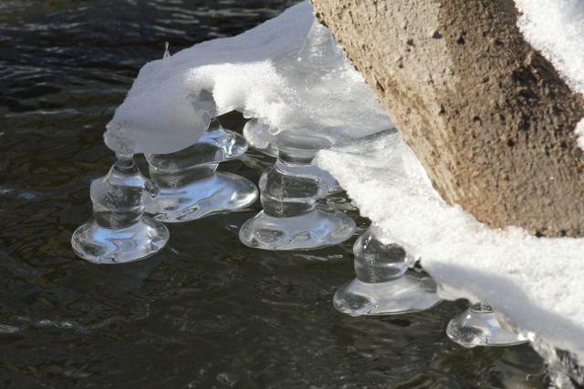 Beautiful ice formations on the melting Clinton River