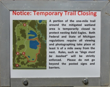 Sign for trail closing due to eagle nest
