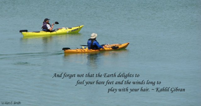 Kayakers and quote from Kahlil Gibran w sig