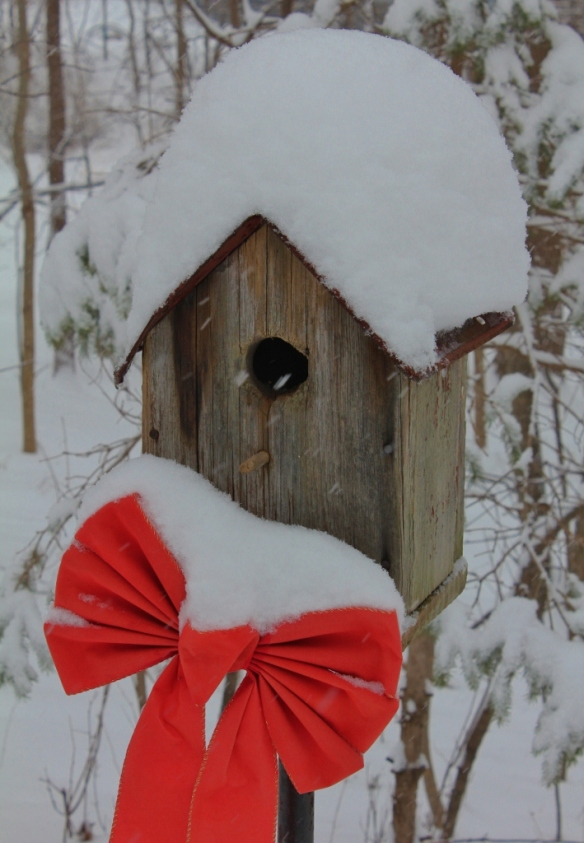 Red bow and snow-covered birdhouse (709x1024)