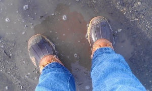 """The obligatory """"muddy boots"""" picture from my first spring hike"""