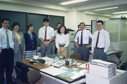 Fukumura-san with his ever-present smile at an office party not long before I left Japan in 1990.