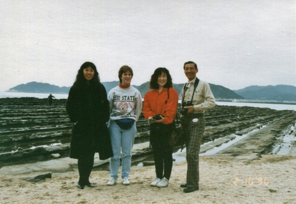 Mr. Fukumura with me and a couple friends, on a trip to Aoshima Island on Kyushu (Feb. 1990)