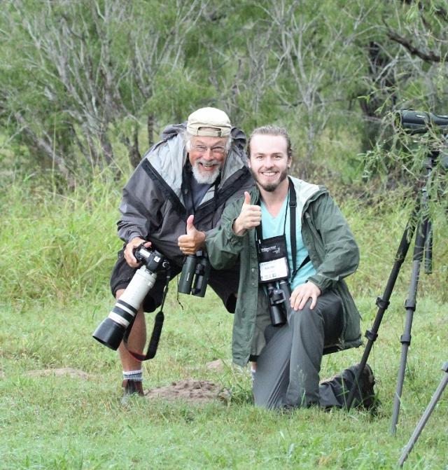 Bruce and Raymond celebrating the Ferruginous Pygmy-owl sighting.