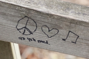 Graffiti wisdom: All you need is peace, love, and music.