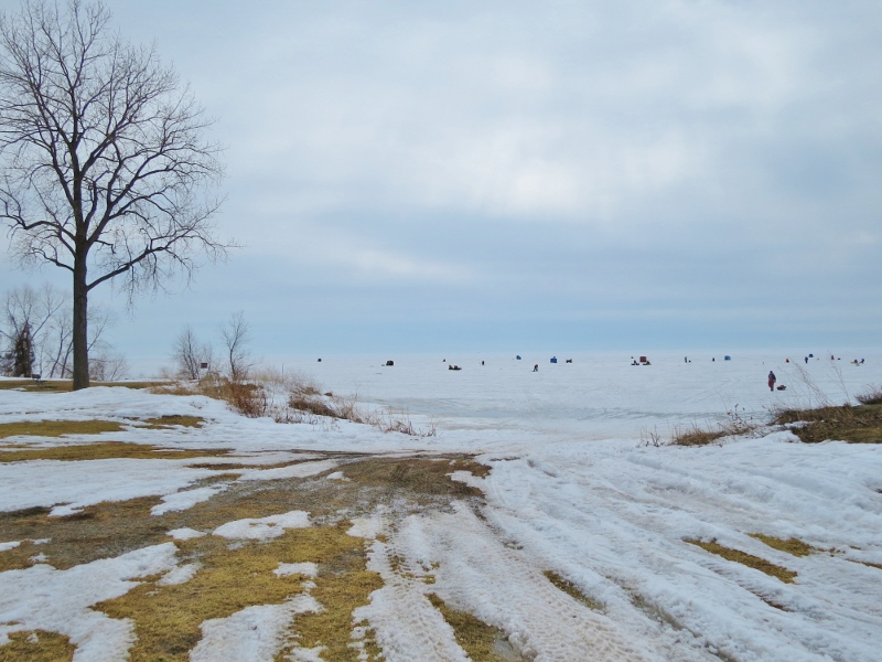 Ice fishermen on Lake St. Clair