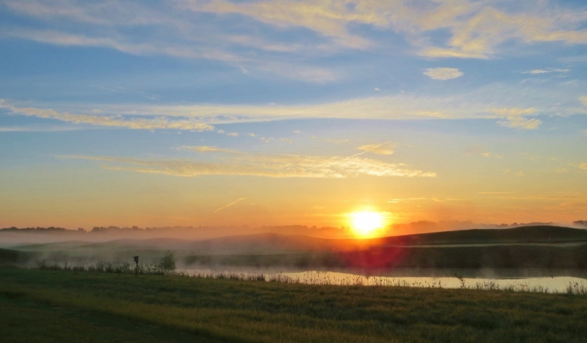 Sunrise over Maumee Bay State Park golf course - showing fog on dunes (1024x598)