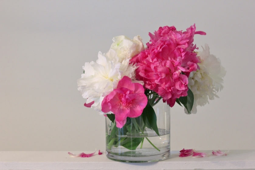 The white ones are Duchess de Nemours peonies. I don't remember the name of the pink ones.