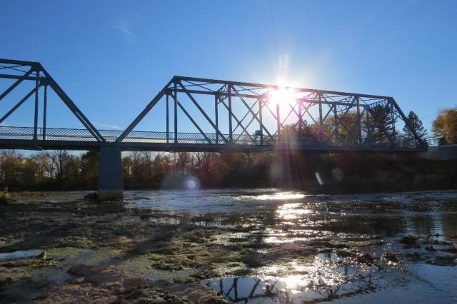 Tindall Bridge with sunburst