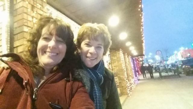 Kim and Deb in Rochester with holiday lights Dec 2014