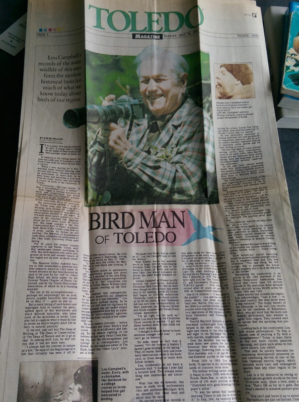 Newspaper article about Lou Campbell - Birds of Toledo Area author (594x800)