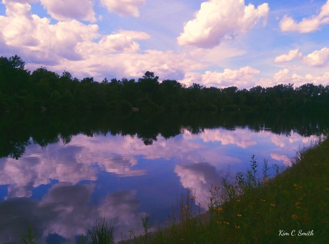 Clouds reflected on Wiregrass Lake w sig