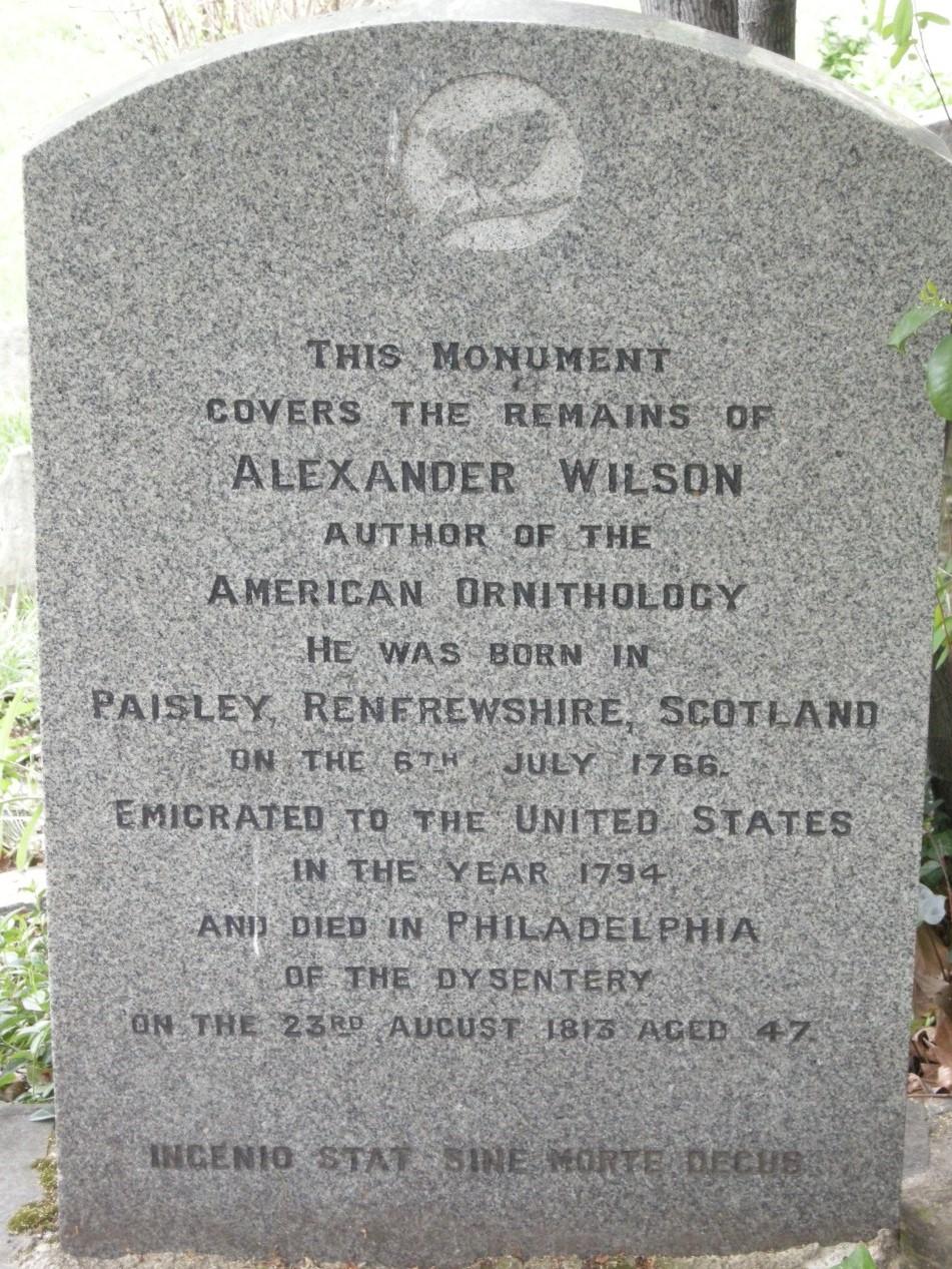 Alexander Wilson's tombstone in Philadelphia