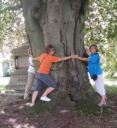 Hugging a tree with Julie Heitz at Woodlawn Cemetery