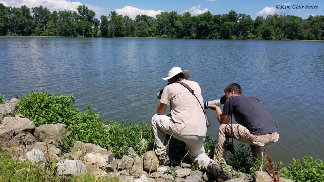 Rick and Ryan photographing Jade Clubtail - for blog
