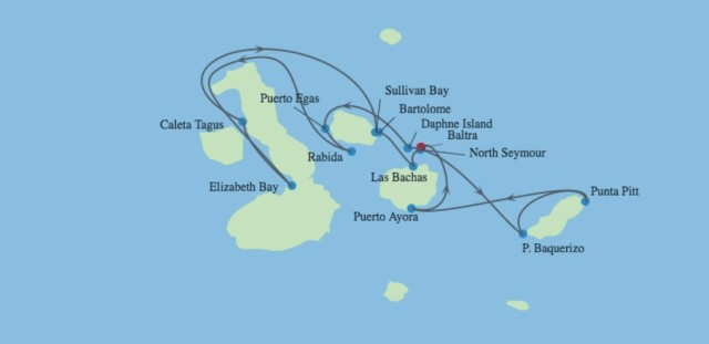 Cruise map for Celebrity Xpedition Galapagos Inner Loop