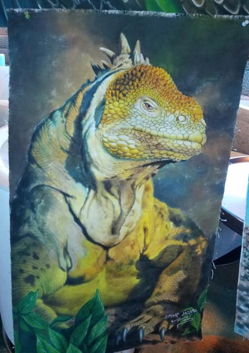 Land iguana painting